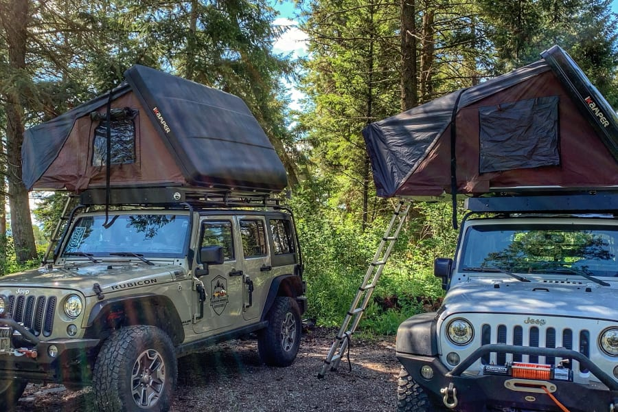 Our Jeep Rubicon Wranglers are equipped with iKamper Roof Top Tents