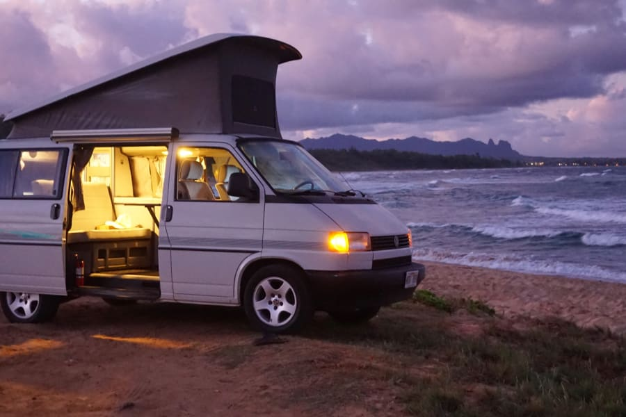 "Parking in the evening on Kauai beach. ""Life is not measured by the number of breaths we take, but by the moments that take our breath away"""