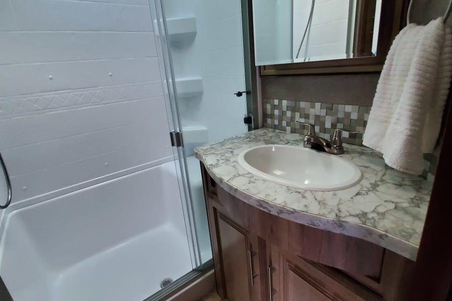 Main Bathroom: sink and shower