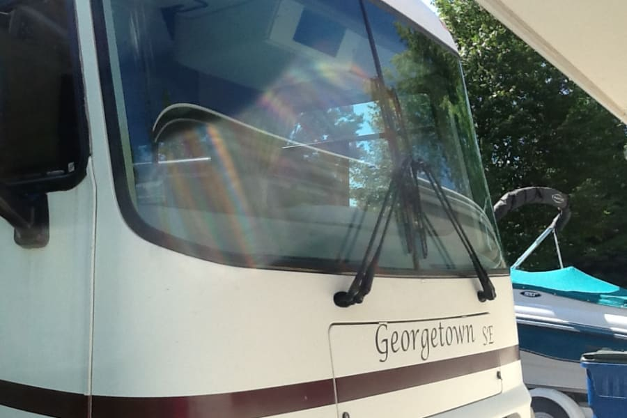 Front of Motor Home.  George Town- Forest River Motor Home.  Great views with full window - amazing!