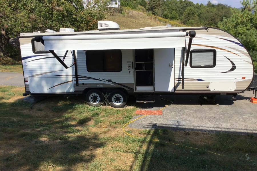 Front of camper with awning