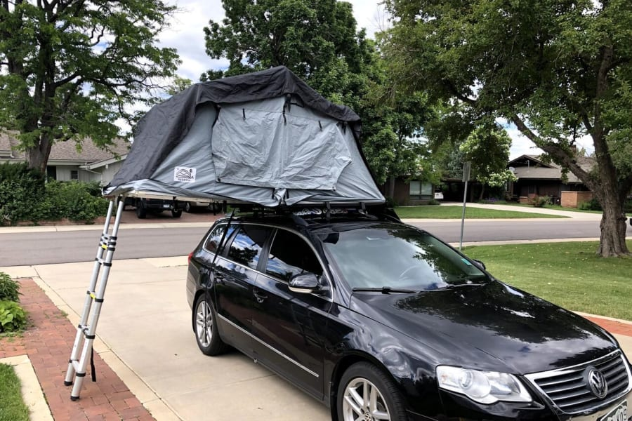 deployed rooftop camper