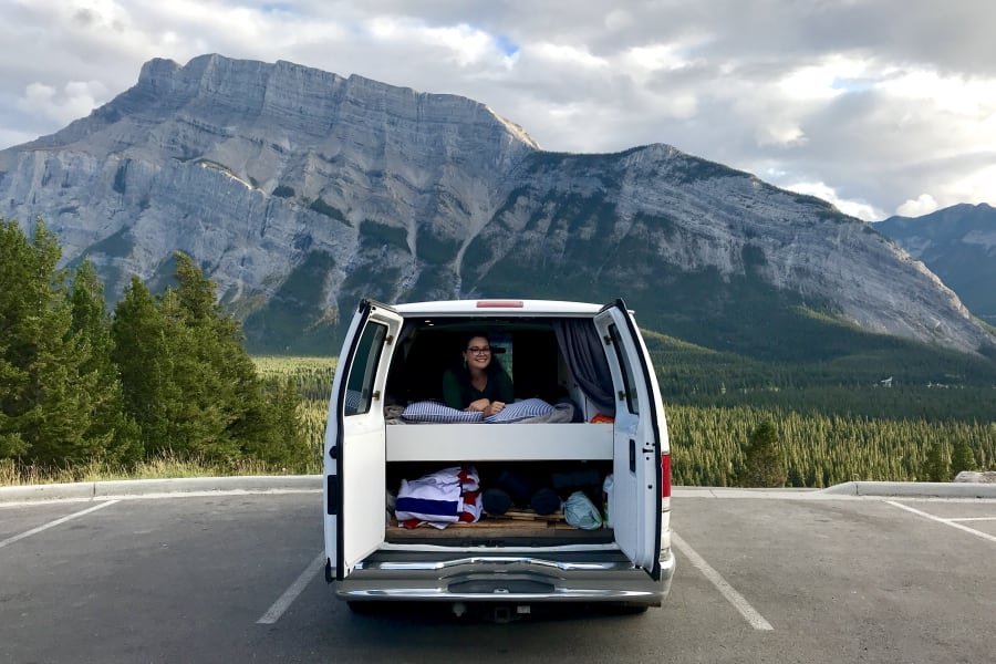 The back of the Van showing the under-bed storage space.
