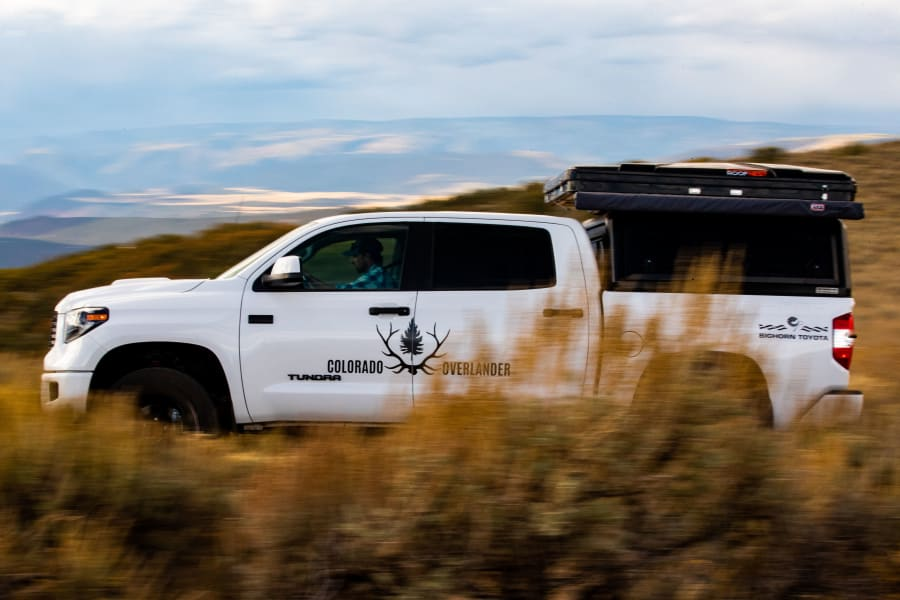 Our Tundra TRD Pro is perfect for your next adventure.  With a RLD USA topper, Decked Drawer system, Slee Offroad Rock Sliders and a Roofnest Eagle roof top tent, this vehicle is overland capable.