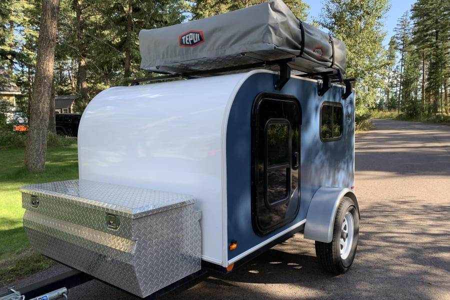 Here at Glacier Nomadic Adventures all of our trailers come with a 2 Person Tepui Roof Top Tent mounted on top at no extra charge.
