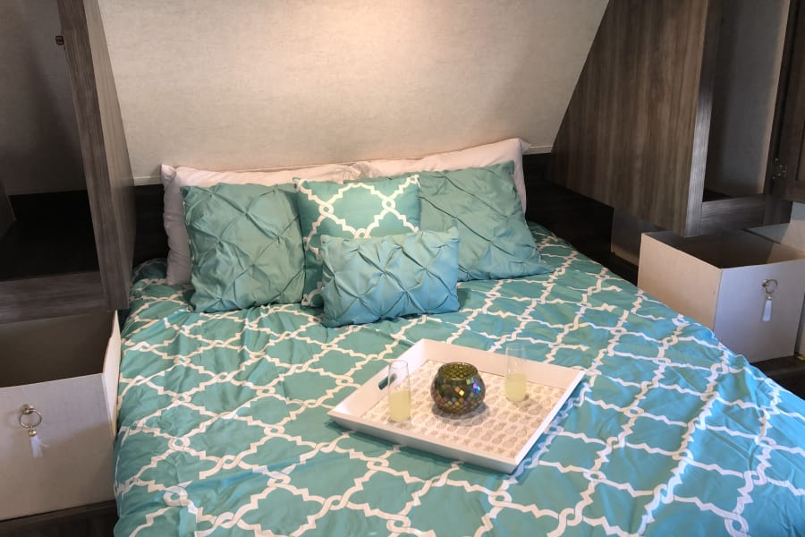 """Private bedroom with a door that closes, 4"""" memory foam topper and tons of storage!"""