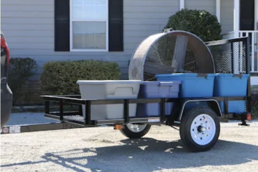Stock photo of trailer loaded with misc. items.