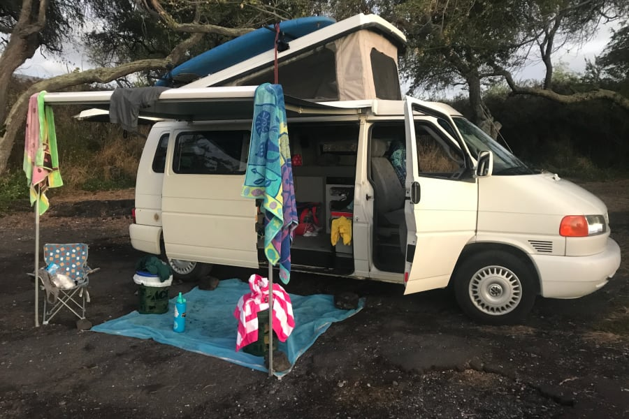 Eurovan set up at the beach. Go to sleep and wake up to the sound of the ocean!