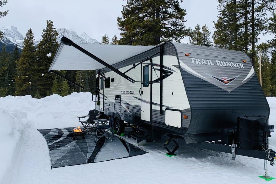 Winter camping Lake Louise, Alberta.