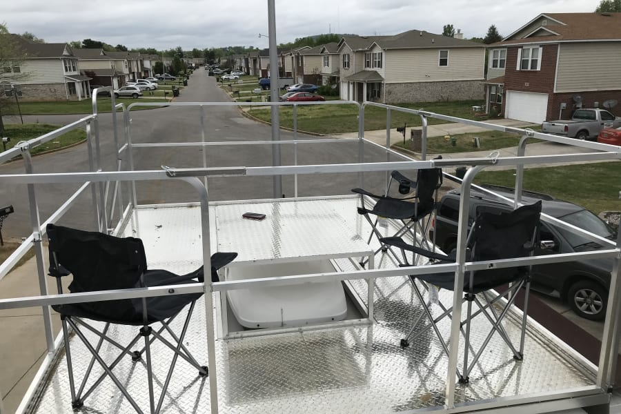 8 x 12 foot Sky deck with center table. Enough room for 10 chairs! (Waiver required for use)