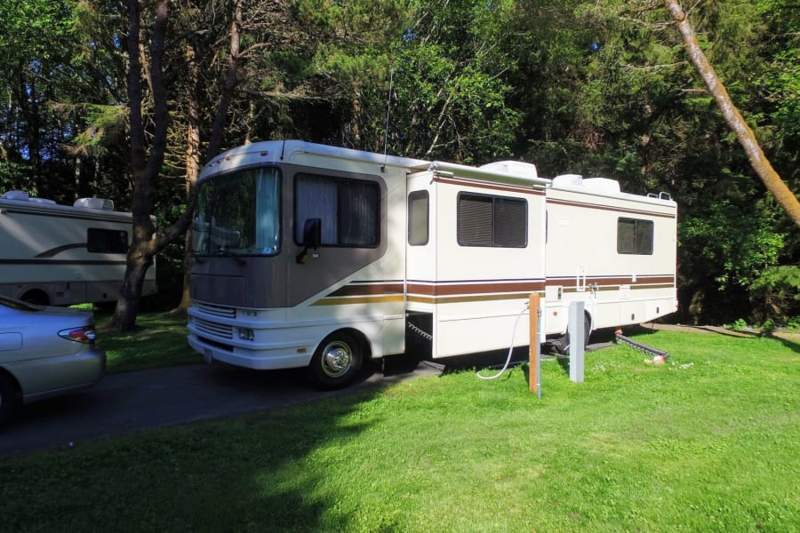 Parked and connected at the Cannon Beach RV Park