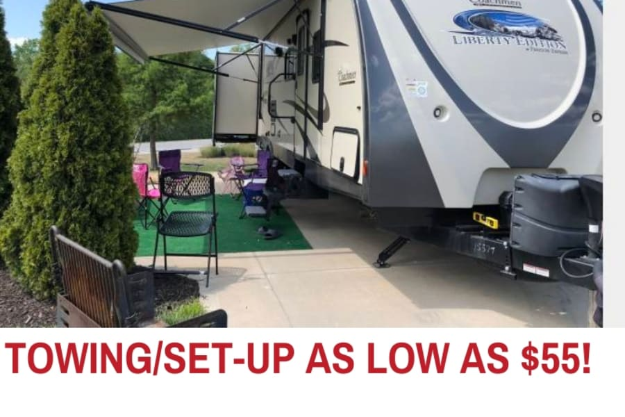 Towing and set up is $55 within 30 miles of our home in Olathe.  Additional mileage is $1.14 per mile.