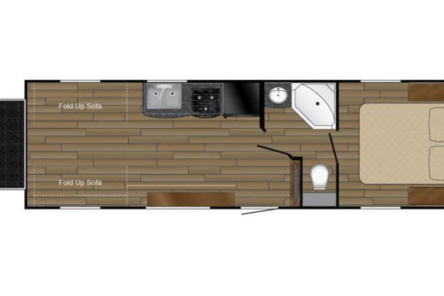 Floor Plan for the 2016 Heartland Pioneer Toy Hauler
