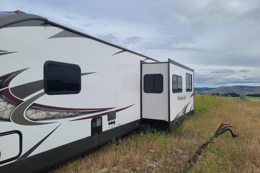 Back side of trailer showing slideout