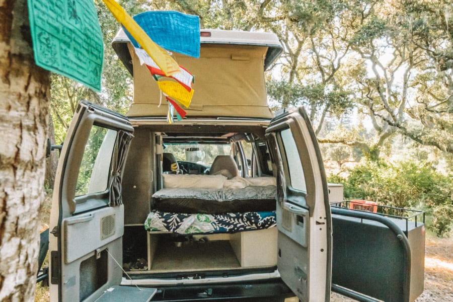 Access under-bed and under cabinet from the rear of the van. Also under the bed is the water tank and propane.