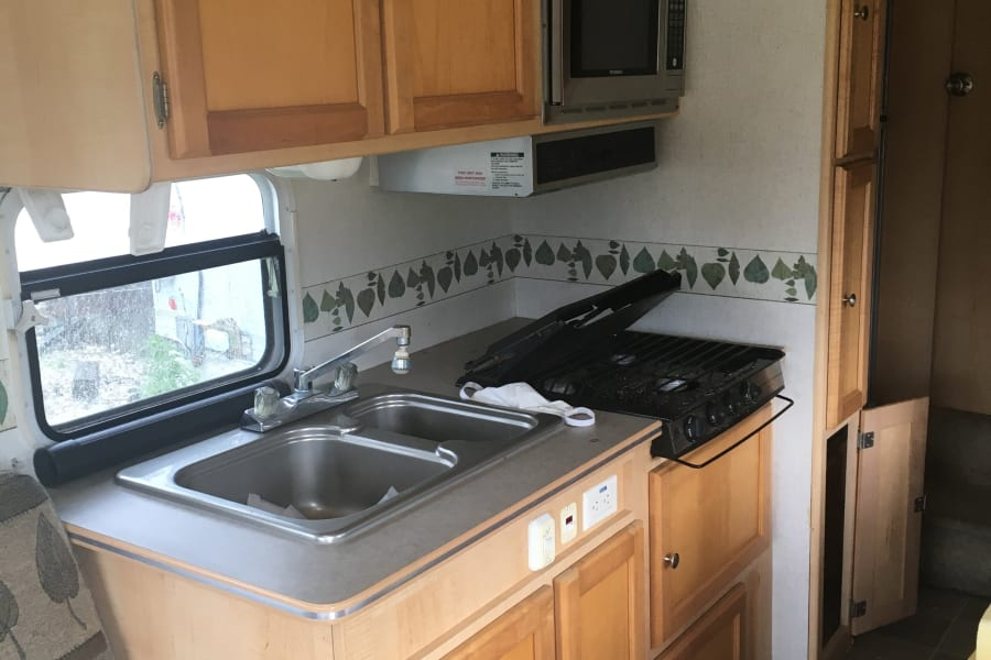 This kitchen is coming out of my 5th wheel camper and going into the rear of the Patriot shuttle bus.