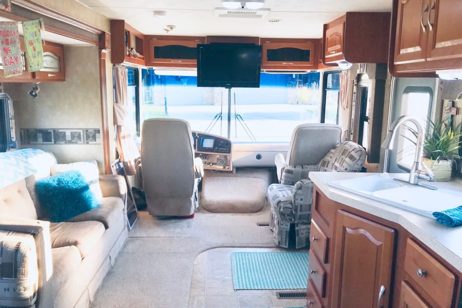 Driver has great view of road and throughout RV
