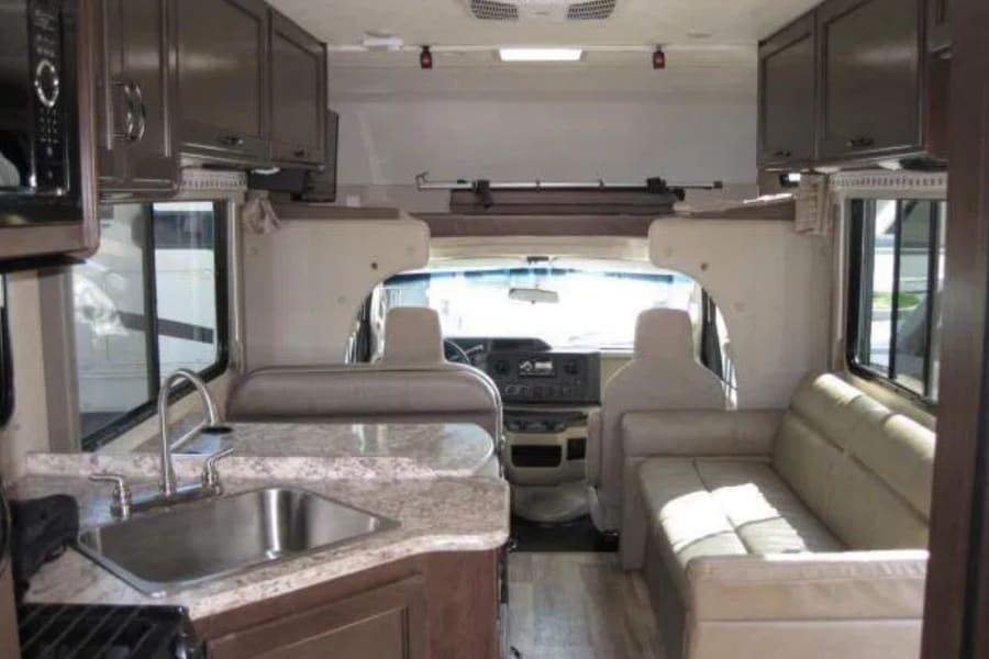 The interior is spacious and modern with lots of user friendly features. Lauren appreciates the large (by RV standards) sink.