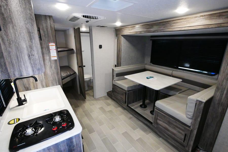 Kitchen, bunks, bath
