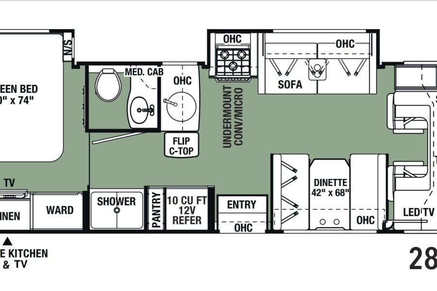 Well designed floor plan provides a private back bedroom, separate toilet and shower, ample living space, and a bunk above the cab