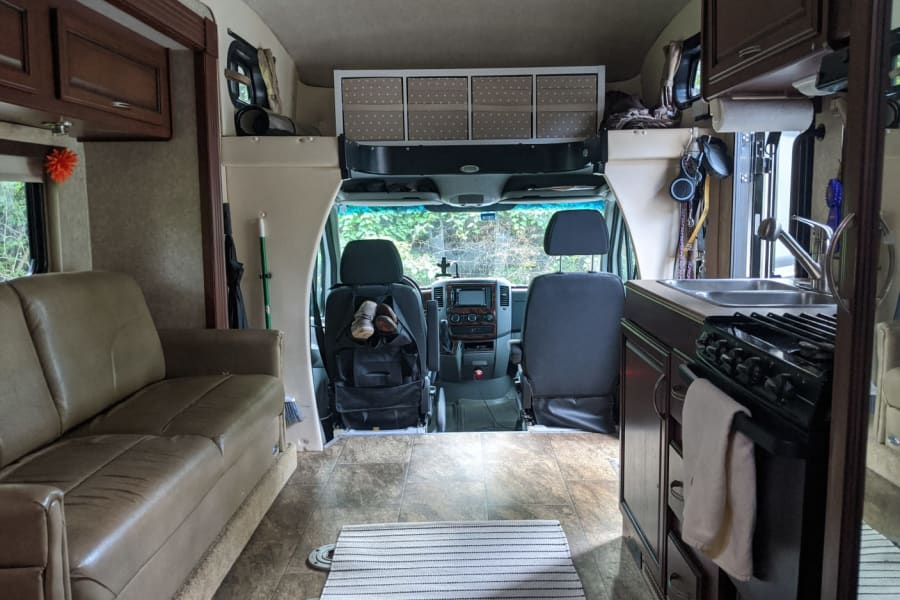 Looking to the front of the motorhome