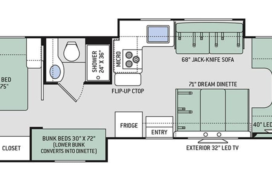 Bunk bed layout - room for everyone