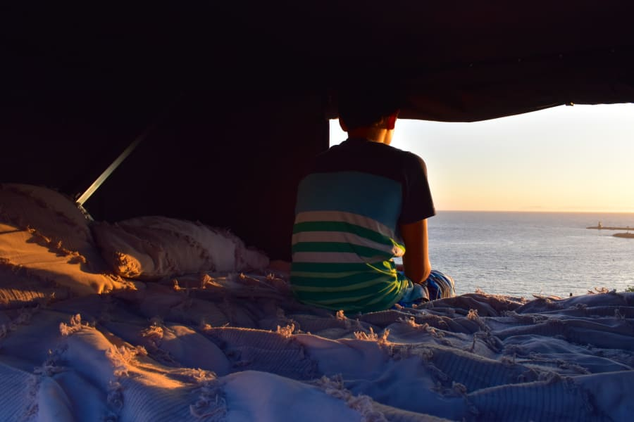 Catching the sunset from the rooftop tent!