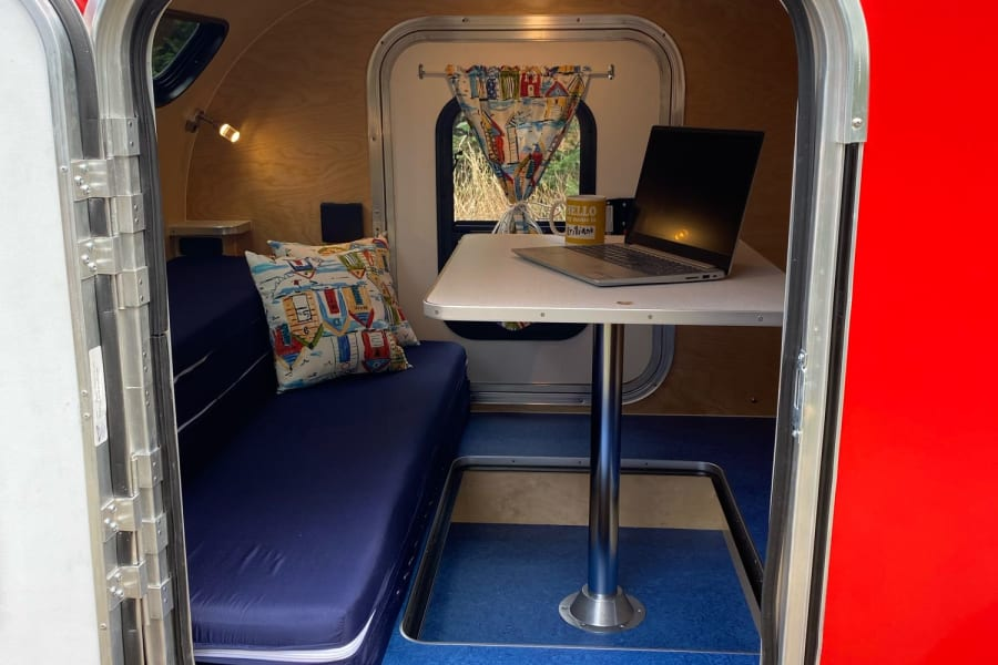Digital Nomads Rejoice! This teardrop includes space for dining or working!