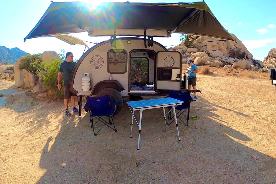 Campsite set up! It comes with an awning to give you a shaded area for eating or just hanging out.