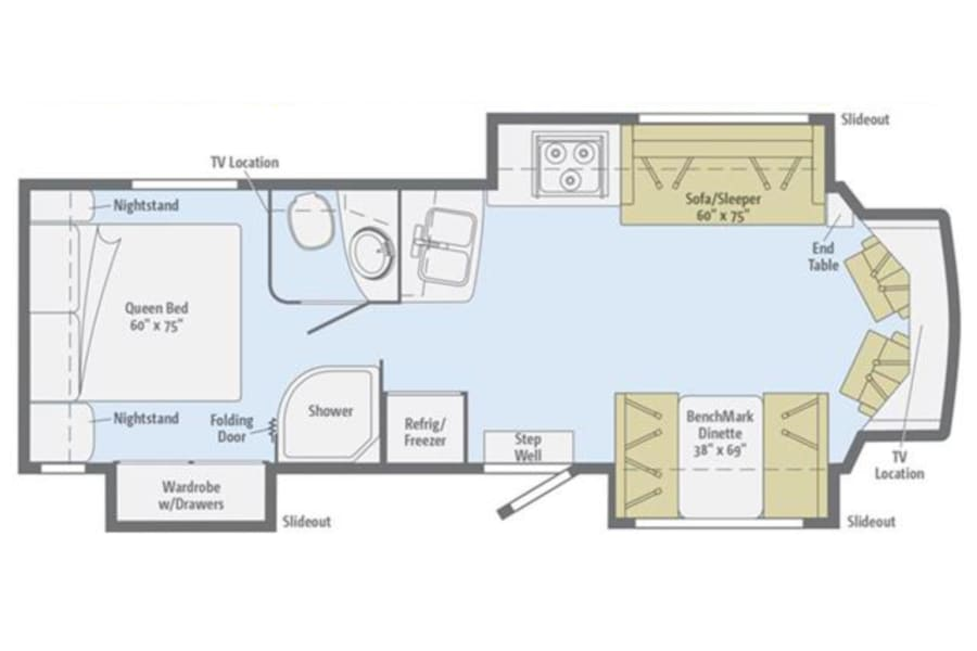 floorplan The Cambria - 2014 Winnebago Itasca Lithia Springs, GA