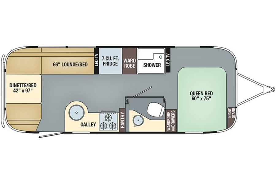 floorplan 2018 Airstream 25 Serenity Bellbrook, OH