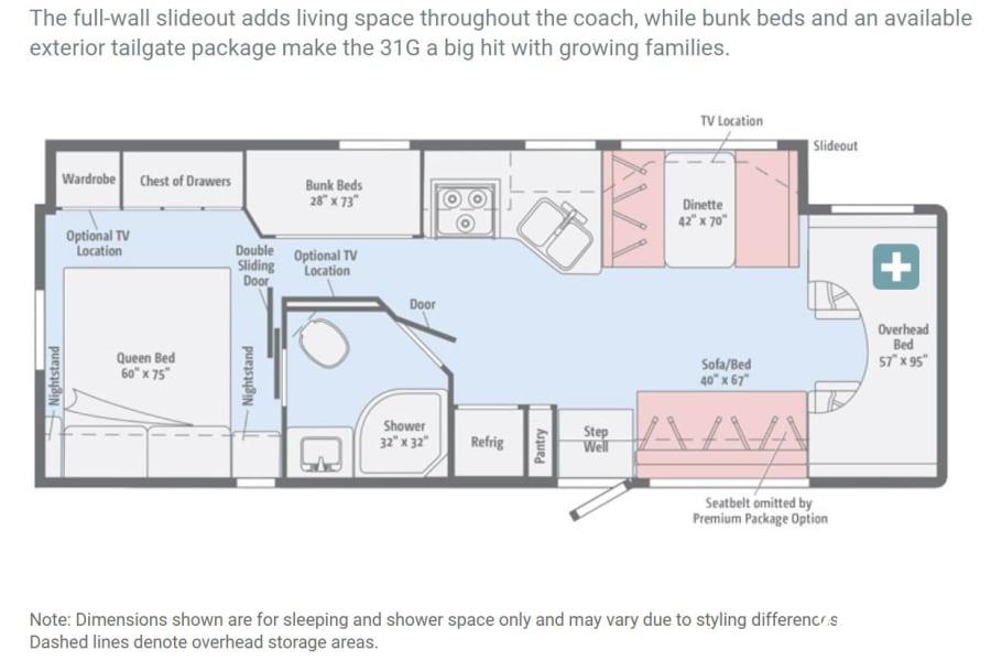 floorplan 2018 Winnebago Minnie Winnie 31G Bedford, TX
