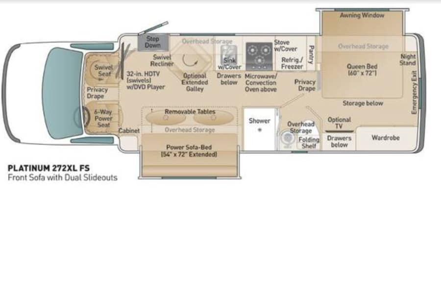 floorplan Coach House 4x4 Diesel, two slides Golden, CO