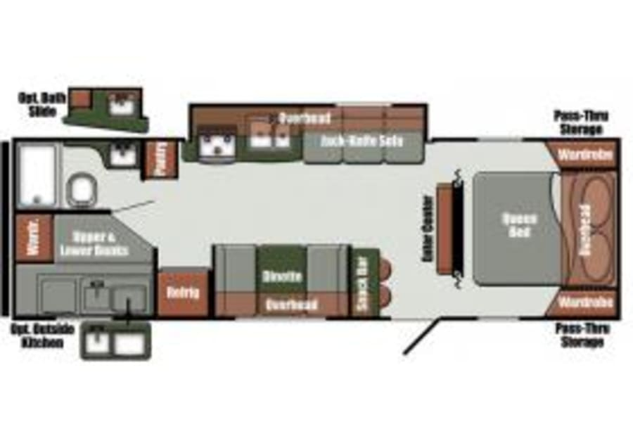 28BKS Bunkhouse with Outside Kitchen