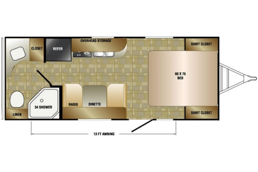 Notice walk around bed area and the large bathroom.  Quick and easy to set up! We have put additional lights in each closet that can be removed to be inside and outside.  Please no smoking or vaping in the RV! Additional fees will be added.