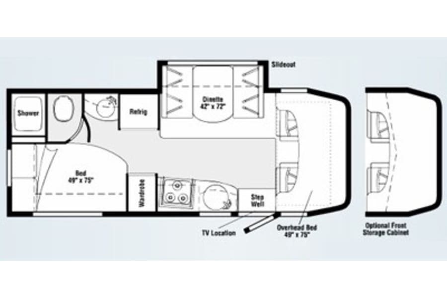 easy workable floorpan-please note-jack knife sleeper couch and table rather than dinette shown