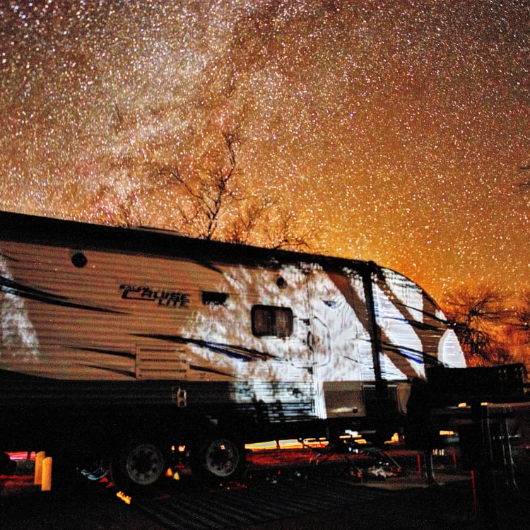 Stargazing at Big Bend and just above the RV is the milky way.