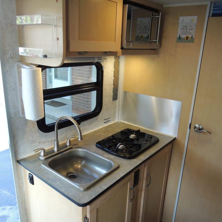 Kitchen - Sink, Propane Stove, Microwave