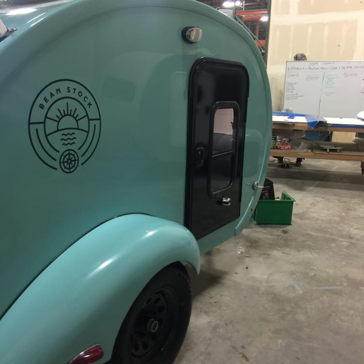 """Brand new tear drop is 9 feet long.  We have found that some walk in campgrounds will accept this as a """"tent.""""  This camper works great with or without hookups.  Comes with solar panel."""