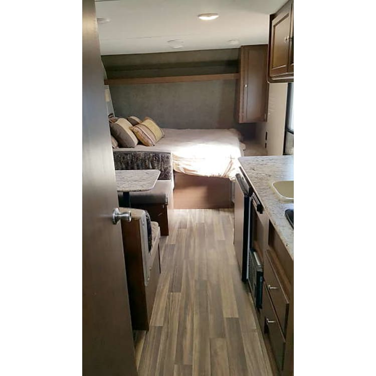 This beautiful little trailer has no popouts to hassle with and is still very roomy!
