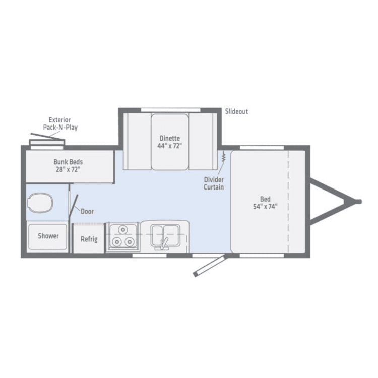 This floorpan offers great use of space, including a slide-out, sleeping for 6 and a perfect kitchen for feeding the family.