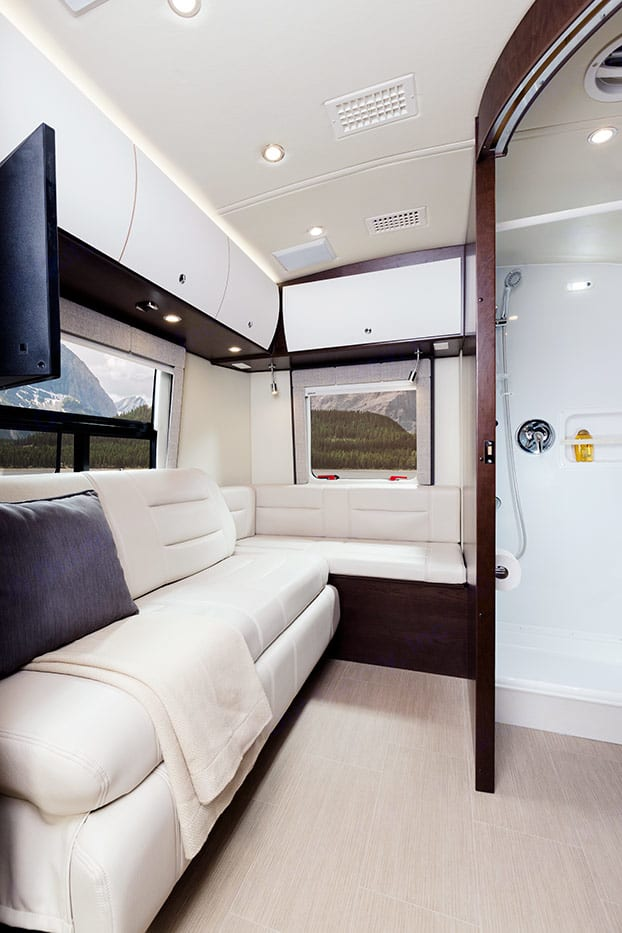 Rear master bed can convert easily to sofa. . Leisure Travel Serenity 2015