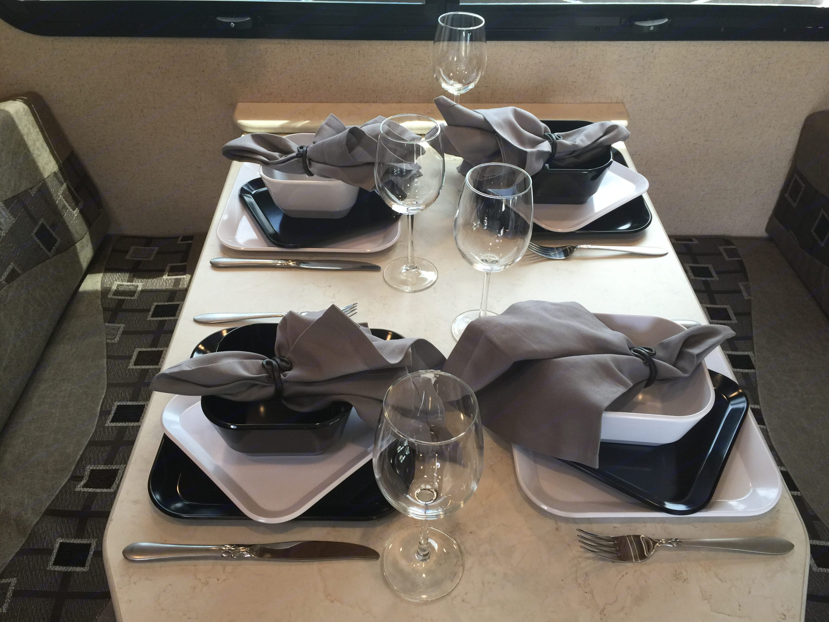 Table set for 4 - Perfect for a family or entertaining your guests. Jayco Melbourne 2017