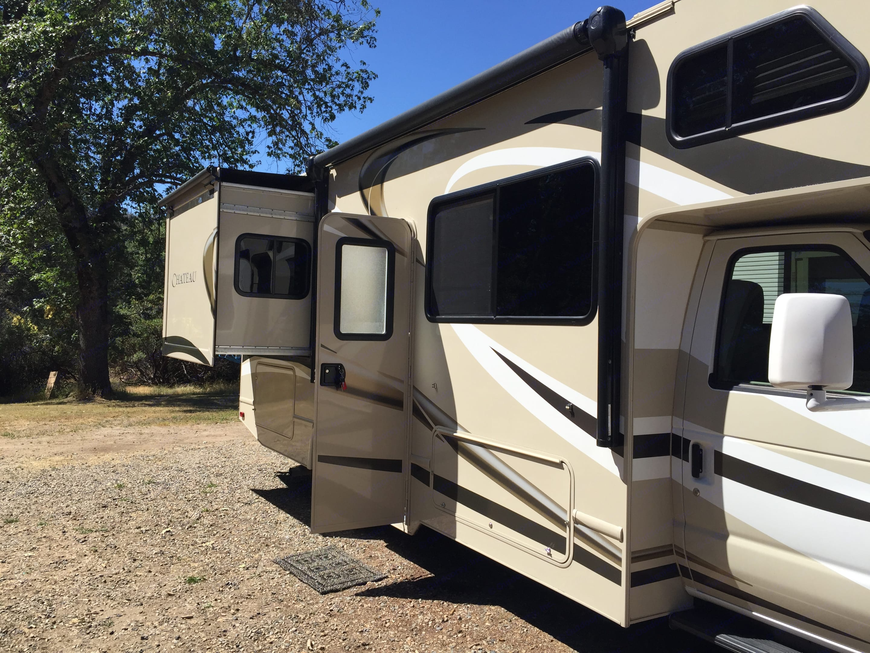 Slide Out for the Walk Around Queen Bed. Thor Motor Coach Chateau 2016