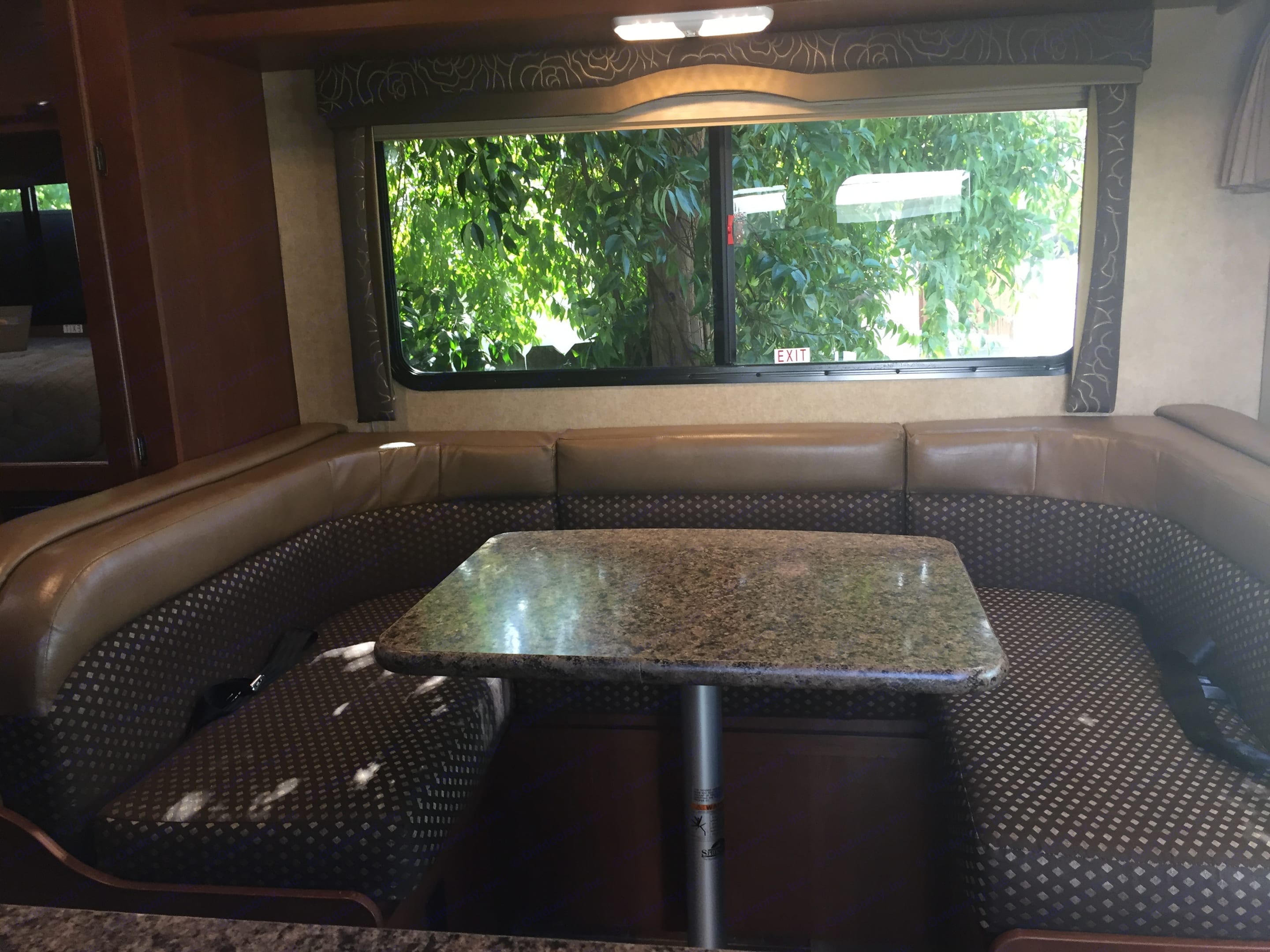 The dinette is a great place to enjoy a glass of wine and a game of cards at the end of the day. It also converts into a single bed. When you are on the road, there are 3 seatbelts.. Thor Motor Coach Chateau 2016