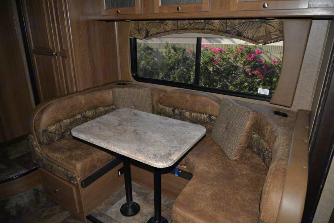 Dining table turns into double bed to sleep 2. Lots of storage.. Coachman Leprechaun 2016