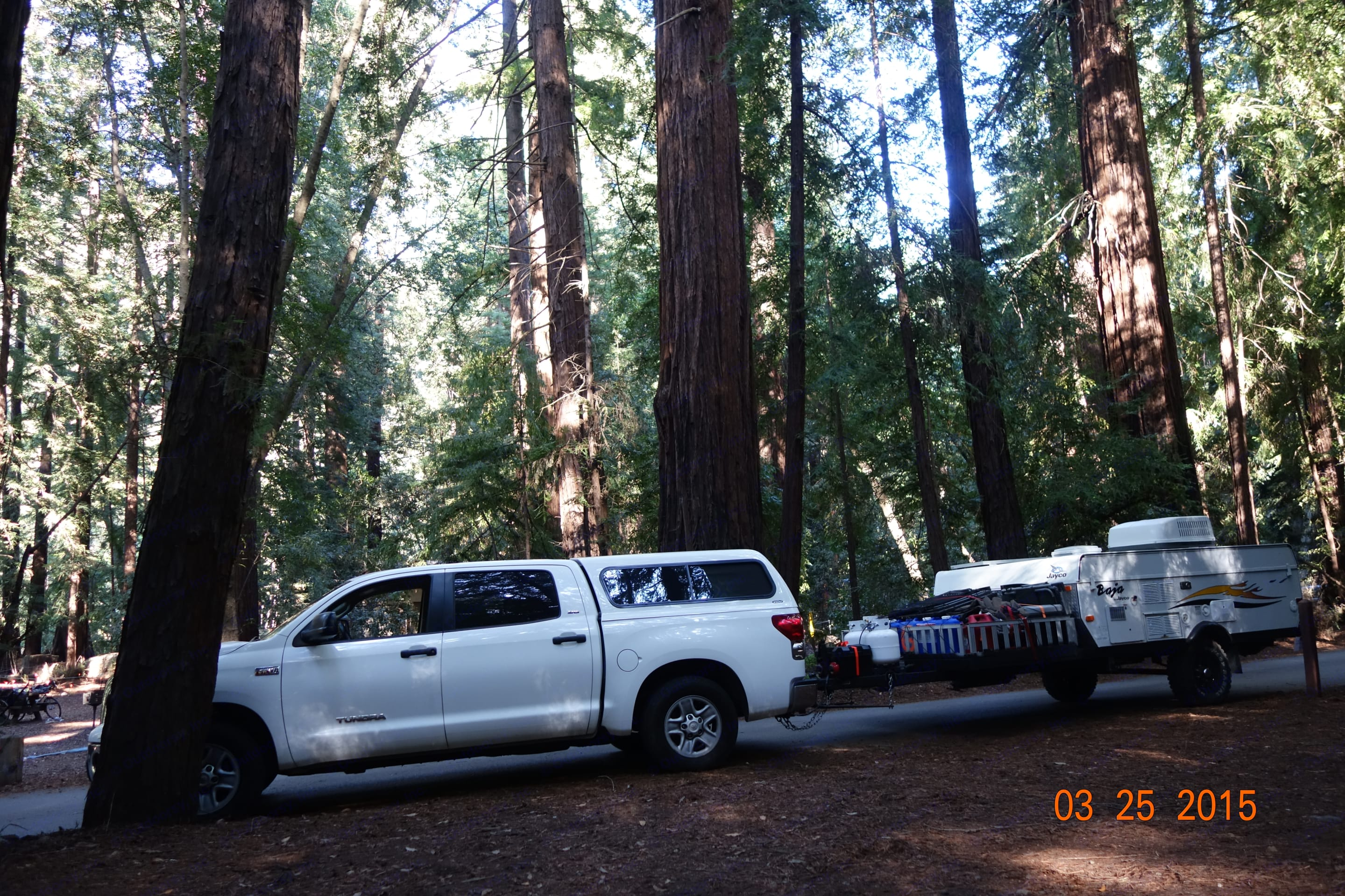 Pulling up to our site in Pfeiffer Big Sur State Park. jayco baja 10 y 2006