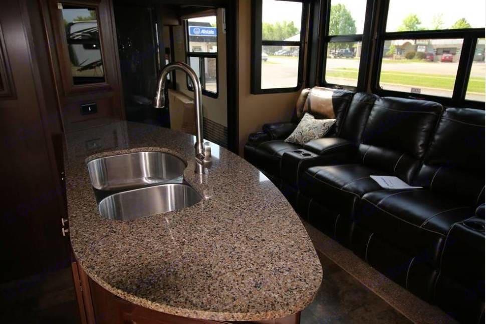 Kitchen;  heated seats, end seats have massage . Dutchmen V3990 2015