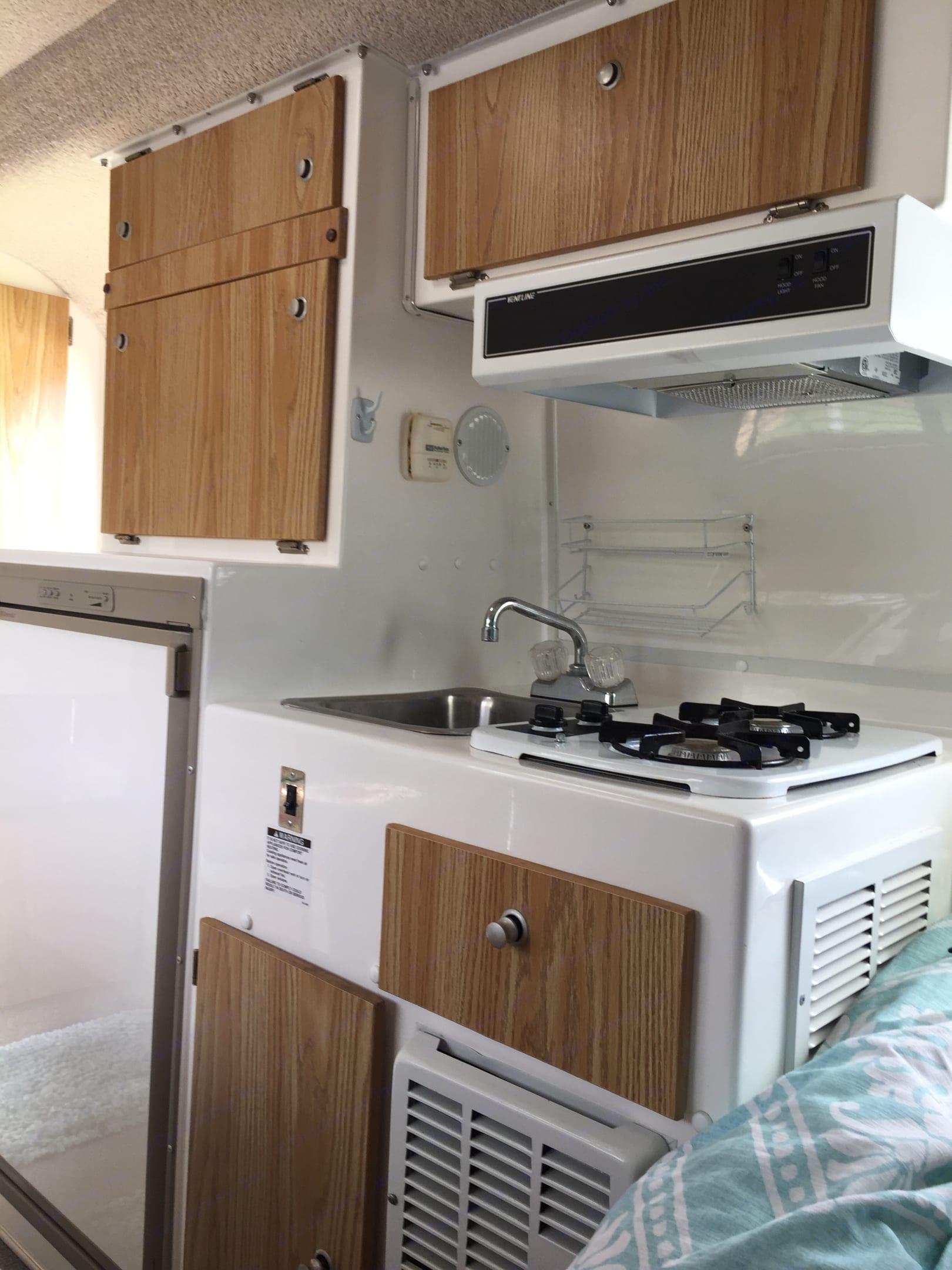Stove and refrigerator/ freezer. Casita 17' Spirit Deluxe 2008