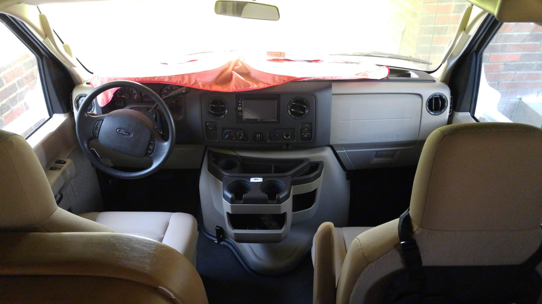Two seat cab interior. Thor Motor Coach Freedom Elite 2015